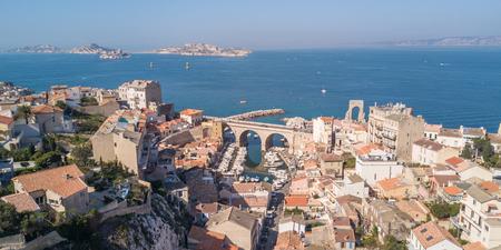 Fishing harbor of Vallon des Auffes in Marseille in Mediterranean sea