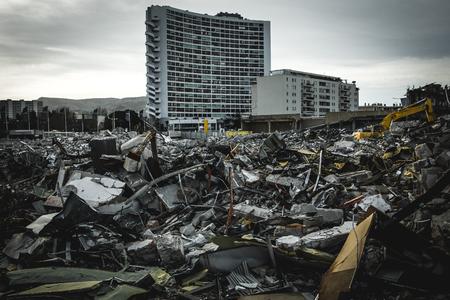 Demolition site debris
