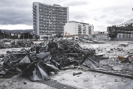 Demolition site with metalic debris