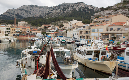 Beautiful small fishing port in Marseille in mediterranean sea