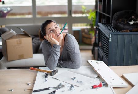 Attractive woman makes DIY at home