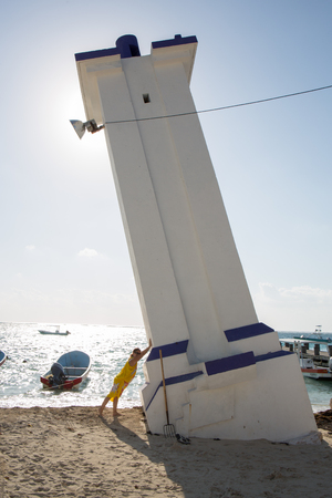 Puerto Morelos lighthouse in Carribean Stock Photo