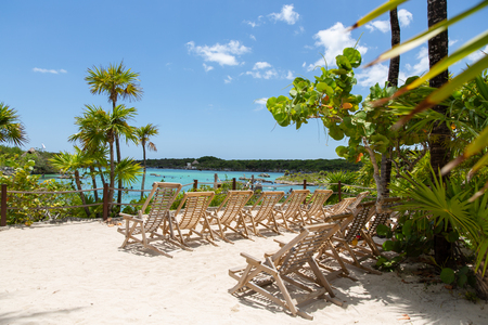 Beach with relax on Xel-Ha lagoon reserve in Mexico