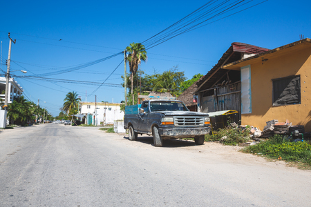 Vintage pick up car in Mexico street of tulum
