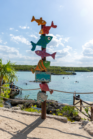 Funny signpost direction with colorful fish on mexican coastline