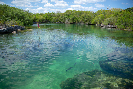 Xel-Ha lagoon reserve in Mexico Yucatan tourists park