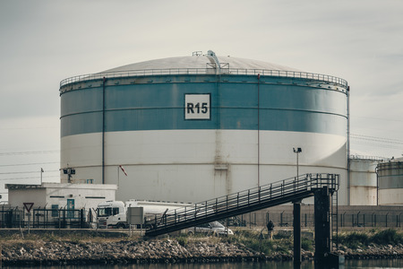 Crude oil tanks in a refinery industry at Fos sur Mer, France
