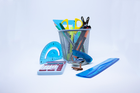 School supplies, colored pencil and markers isolated on white background - Collection supplies