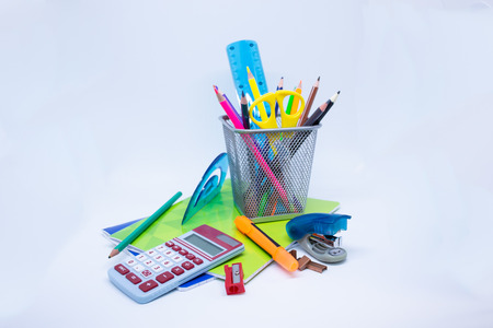 School and Office supplies isolated on white background - Collection supplies Archivio Fotografico