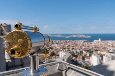 Beautiful panorama of Marseille city and bay Basilica Notre Dame de la Garde
