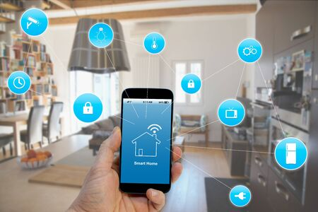 Smart home concept title, Hand holding smartphone with smart home application on screen
