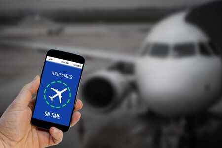 Flight on time notification on Smartphone application announces good news to tourist