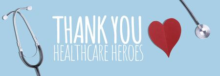 Medical worker appreciation theme with hearts and stethoscope Stock Photo