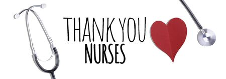 Thank You Medical Staff message with stethoscope and red hearts Stock Photo - 148205361