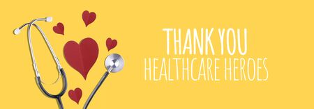 Thank You Medical Staff message with stethoscope and red hearts Stock Photo