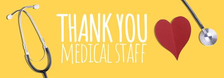 Thank You Medical Staff message with stethoscope and red hearts Stock Photo - 148205367