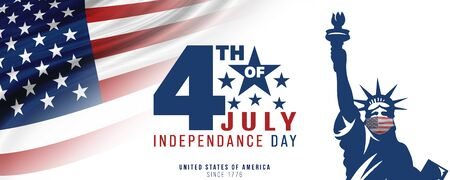 4th of July, USA celebration of Independence day - Banner illustration Stock Photo