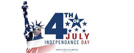 4th of July, USA celebration of Independence day - Banner illustration Stock Illustration - 148001657