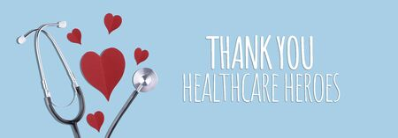 Thank You Medical Staff message with stethoscope and red hearts Stock Photo - 148163380