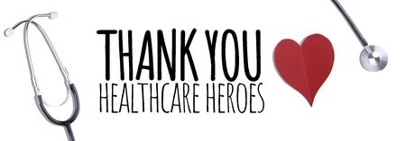 Thank You Medical Staff message with stethoscope and red hearts - Banner