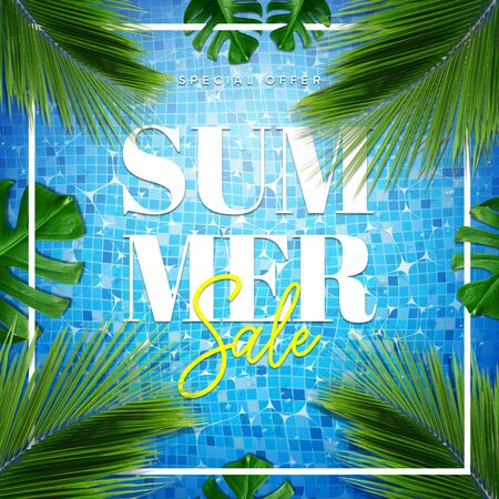 Summer sale special offer card illustration. Top view of summer pool with palm and tropical leaves background Stock Illustration - 149445171