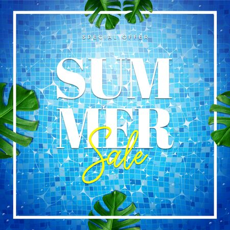 Summer sale special offer card illustration. Top view of summer pool with palm and tropical leaves background