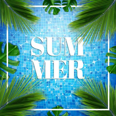 Summer card illustration. Top view of summer pool with palm and tropical leaves background Stock Illustration - 149445449