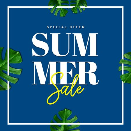 Summer sale special offer card illustration. Palm and tropical leaves on blue classic background Stock Photo