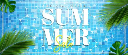 Summer sale special offer banner illustration. Top view of summer pool with palm and tropical leaves background
