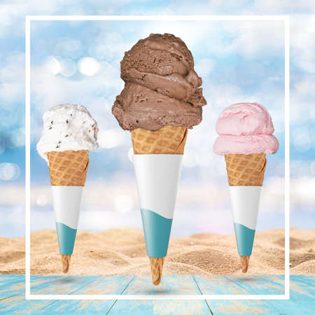 Ice-cream cone isolated on tropical beach background - Stock Illustration Stock Illustration - 151133056