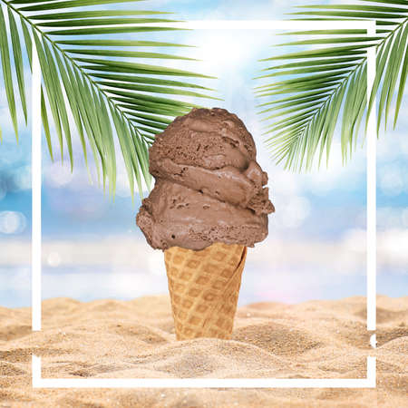 Ice-cream cone isolated on tropical beach background - Stock Illustration Stock Illustration - 151133067