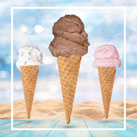 Ice-cream cone isolated on tropical beach background - Stock Illustration