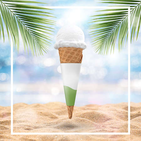 Ice-cream cone isolated on tropical beach background - Stock Illustration Stock Illustration - 151133076