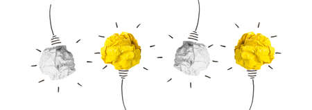 creative idea concept and innovation idea with paper bulb on white background - Banner design Stock Photo
