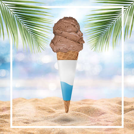 Ice-cream cone isolated on tropical beach background - Stock Illustration Stock Illustration - 151133081