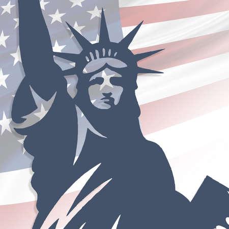 4th of July, USA celebration of Independence day - Square illustration Stock Illustration - 151133082