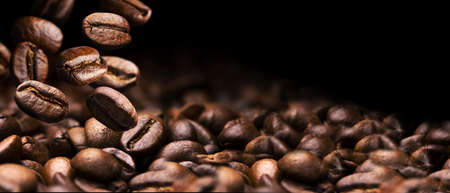 coffee beans on a black background banner design Stock Photo