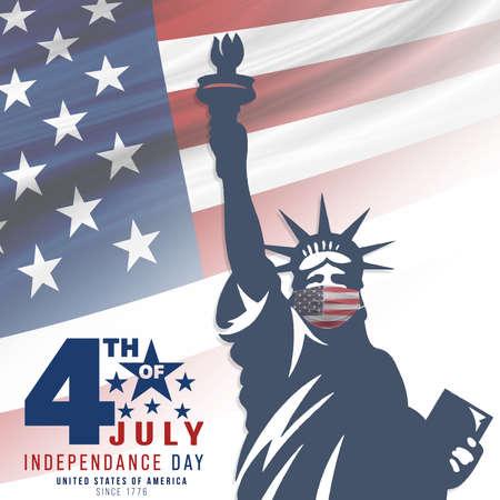 4th of July, USA celebration of Independence day - Square illustration Stock Illustration - 151133236