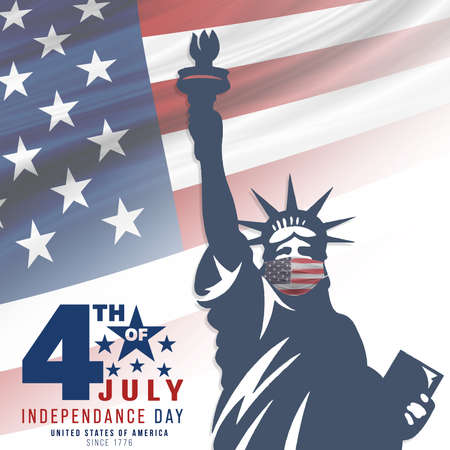 4th of July, USA celebration of Independence day - Square illustration