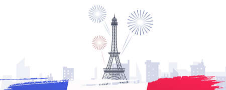 14th of July, French National day illustration banner