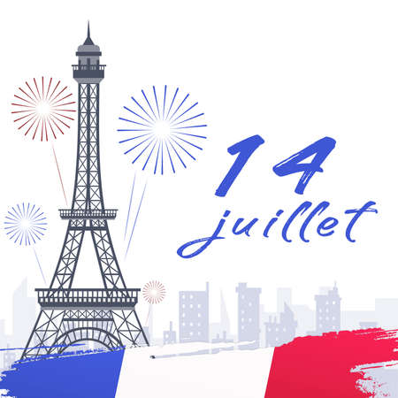14th of July, French National day illustration banner Stock Illustration - 151133238