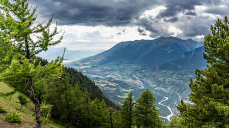 mountain landscape with clouds panoramic view