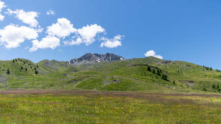 Panorama mountain landscape with blue sky and clouds