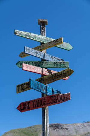 colorful wooden signpost in the sky