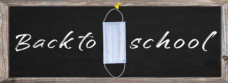 Back to school banner design with medical mask - Banner Back To School With Blackboard And Supplies