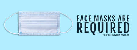 advertising banner with Face masks are required title and face mask isolated on blue background