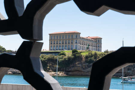 The Pharo Palace seen from the architectural interior of the MUCEM, Marseille France