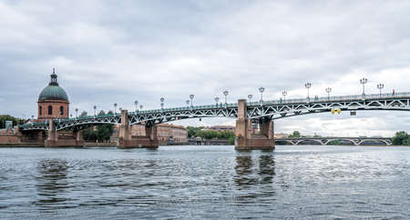 The Saint-Pierre bridge and edge of the Garonne river in Toulouse, France