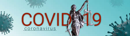 Covid-19 Corona Virus and Law Banner Illustration - Blue Banner with Virus and Statue of Law 写真素材