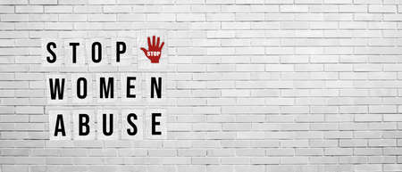 Stop women abuse poster concept - Banner Illustration with message on White brick wall Background